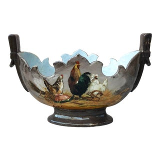 Late 19th Century Hen & Rooster Majolica Jardinière For Sale