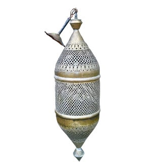 1970s Vintage Pierced Brass Moroccan Pendant Light For Sale