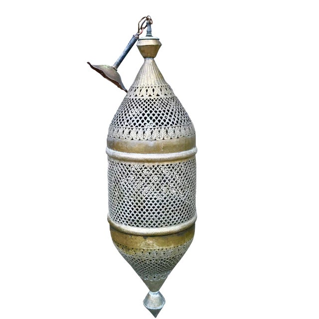 1970s Vintage Pierced Brass Moroccan Pendant Light For Sale