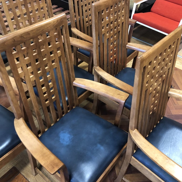 Blue Stickley Furniture Metropolitan Collection Lattice Back + Leather Armchairs- Set of Six For Sale - Image 8 of 13