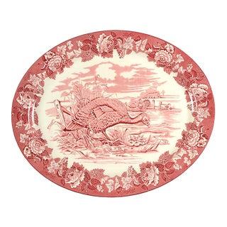 "1960s Wood & Sons Turkey Pink 21"" Oval Serving Platter For Sale"