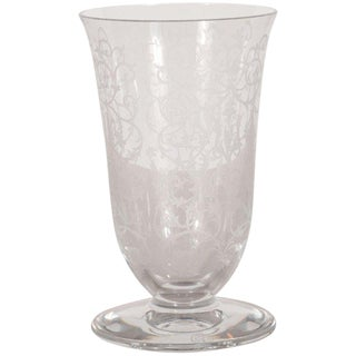 French Mid-Century Modern Foliate Etched Crystal Vase by Baccarat For Sale
