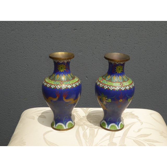 Vintage Chinese Cloisonne Brass Painted Blue Dragon Vases - A Pair - Image 4 of 11