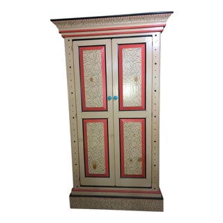 David Marsh Hand Painted Pine Armoire For Sale
