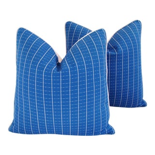 "Coastal Blue/White Nautical Feather/Down Pillows 24"" Square - Pair For Sale"