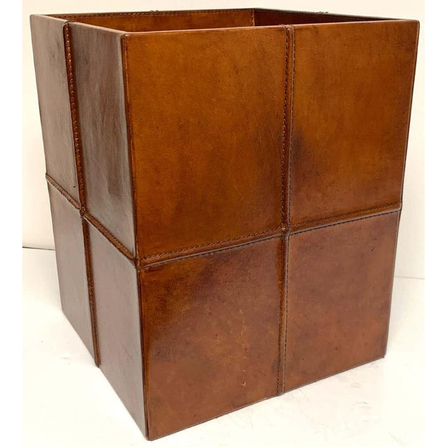 Mid 20th Century French Modern Stitched Leather Cube Wastepaper Basket For Sale - Image 5 of 9