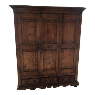 Teak Rustic Wooden Armoire Cabinet For Sale