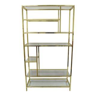 Vintage Mid Century Modern Brass Plated Metal Etagere For Sale