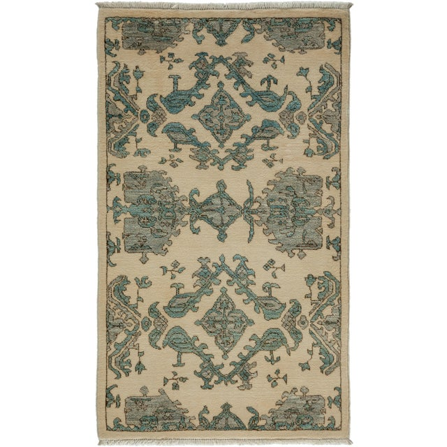 "New Oushak Hand-Knotted Rug - 2' 8"" X 4' 5"" - Image 1 of 3"