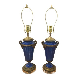 Pair of Bronze Mounted Blue Sevres Lamps For Sale