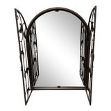 Image of Rustic Style Arch Double Gated Iron Wall Mirror For Sale