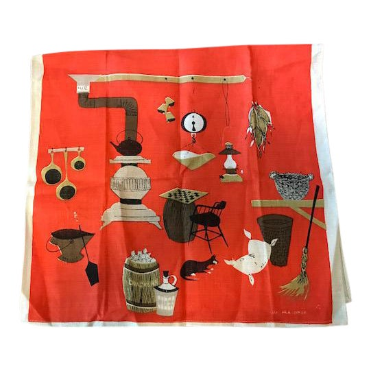 Vintage Belgium De Antonio Tea Towel For Sale