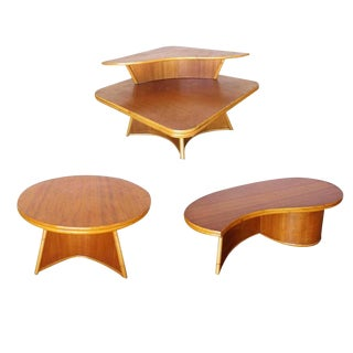 Restored Living Room Rattan Table Set Designed by Herbert and Shirley Ritts For Sale