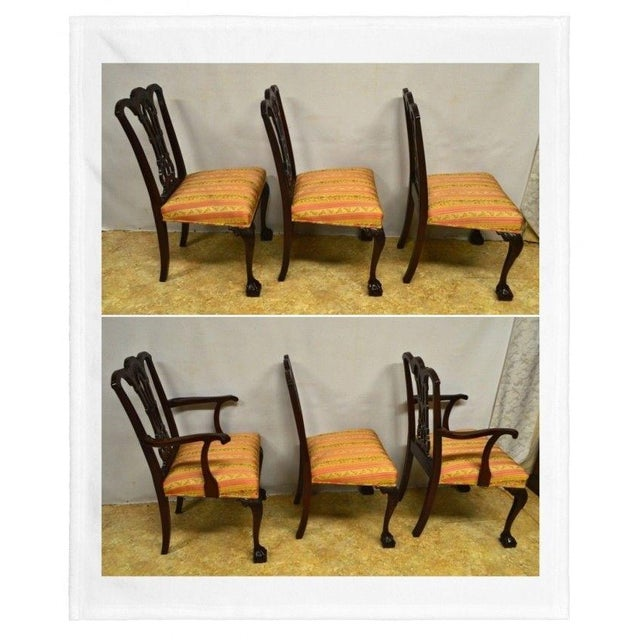 Set of 6 Solid Mahogany Dining Chaits . They had been reupholstered , the fabric has no rips, slightly soiled. A previous...