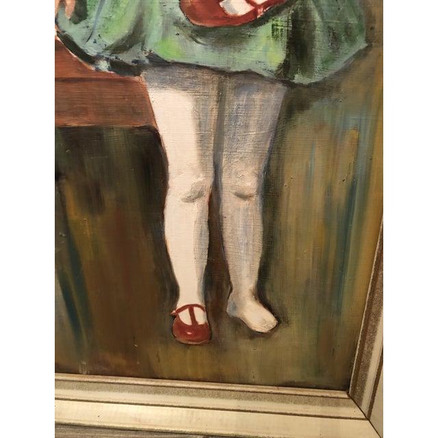 "Portraiture 1960s ""Girl Holding Shoe"" Portrait Painting, Framed For Sale - Image 3 of 7"