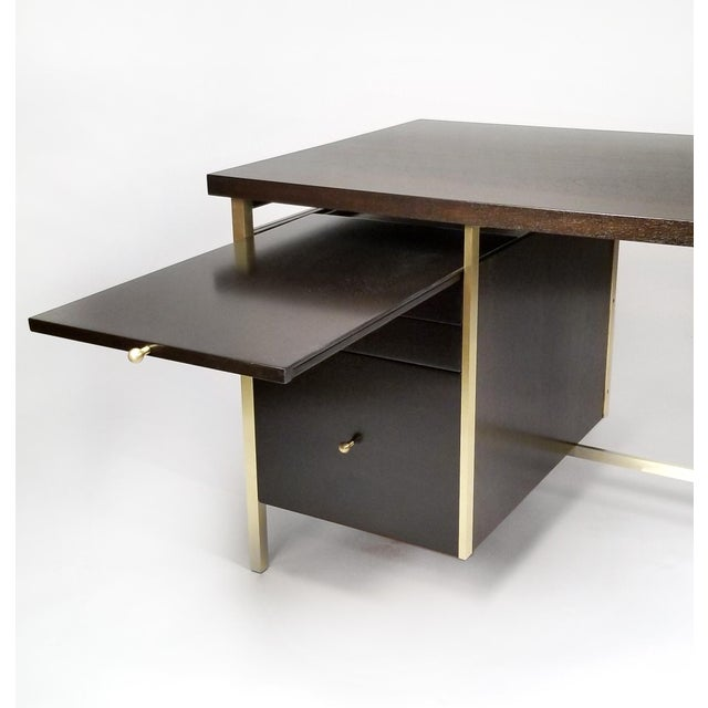 Metal Paul McCobb Brass & Mahogany Desk for the Connoisseur Collection H. Sacks & Sons For Sale - Image 7 of 11