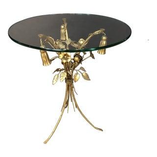 Vintage Hollywood Reegncy Italian Gilt Side Table For Sale