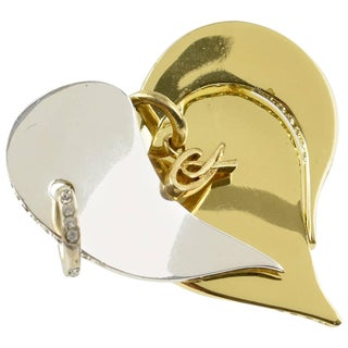 Christian Lacroix Paris Signed Pin Brooch Modernist Silver Gold Heart For Sale