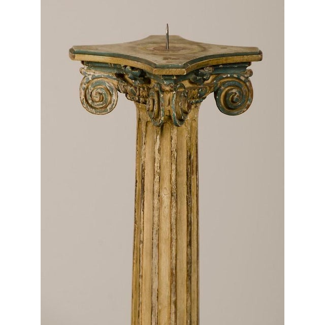 19th Century Italian Neoclassical Carved Wooden Original Painted Finish Candle Stand For Sale - Image 4 of 8