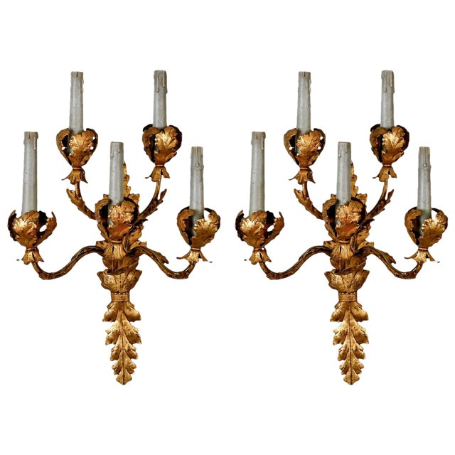 Pair of Tall Five-Light Gilt Metal Leaf Form Sconces For Sale