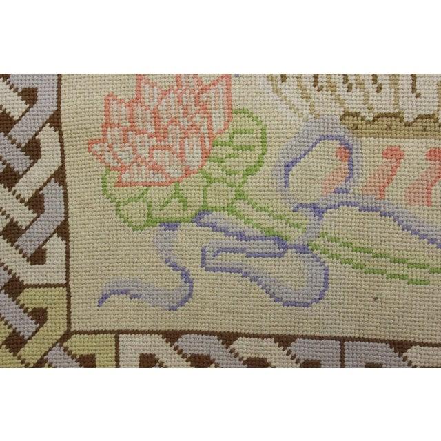 "Vintage Beige & Pastel Blue Needlepoint Floor Mat -- 1'10"" x 1'10"" For Sale - Image 5 of 5"