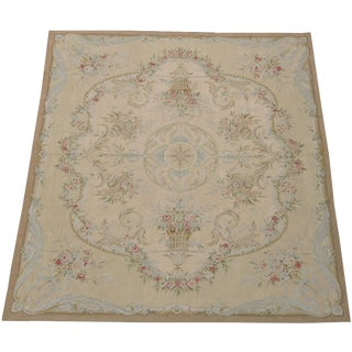 21st Century Wool With Part Silk Aubusson Area Rug- 8′ × 10′ For Sale