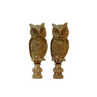 Brass Owl Lamp Finials - a Pair For Sale