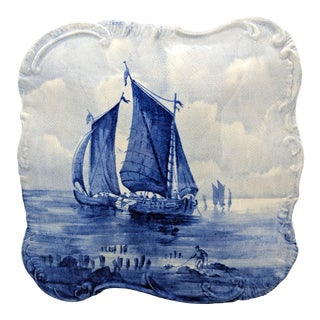 Antique English Empire Porcelain Co. Staffordshire Nautical Hand Painted Blue and White Ship Box For Sale