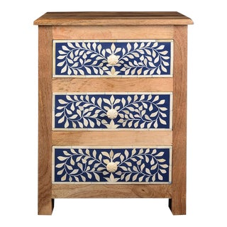 Imperial Beauty Wooden Bedside Table w/ 3 Imperial Drawers in Indigo/White For Sale