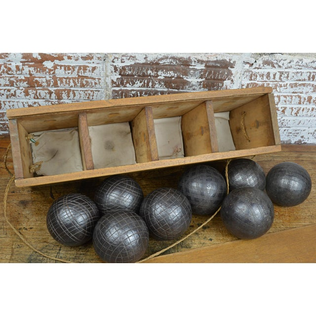 Late 19th Century Antique French Iron Boules Set With Case For Sale - Image 5 of 13
