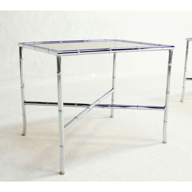 Fine Pair Of Faux Bamboo Chrome And Smoked Glass End Tables Decaso