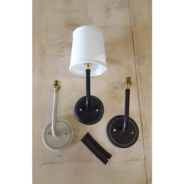 Paul Marra Top-Stitched Leather Wrapped Sconce in Brown For Sale In Los Angeles - Image 6 of 7