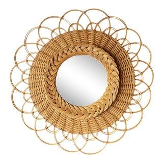1960s French Rattan Round Flower Mirror