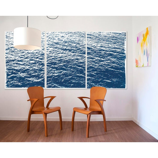 """This is an exclusive handprinted limited edition cyanotype. This gorgeous triptych is called """"Bright Seascape in Capri""""..."""