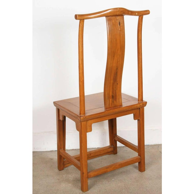 Asian Chinese Ming Style High Back Elm Chairs - a Pair For Sale - Image 3 of 8