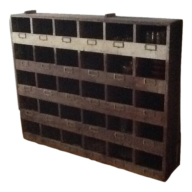 Vintage Industrial Wood Pigeon Hole Storage Shelves - Image 1 of 10