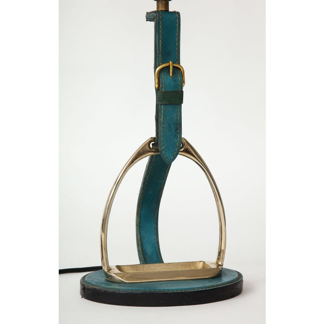 "Blue Very Nice Blue Leather ""Stirrup"" Lamp in the Style of Jacques Adnet For Sale - Image 8 of 11"