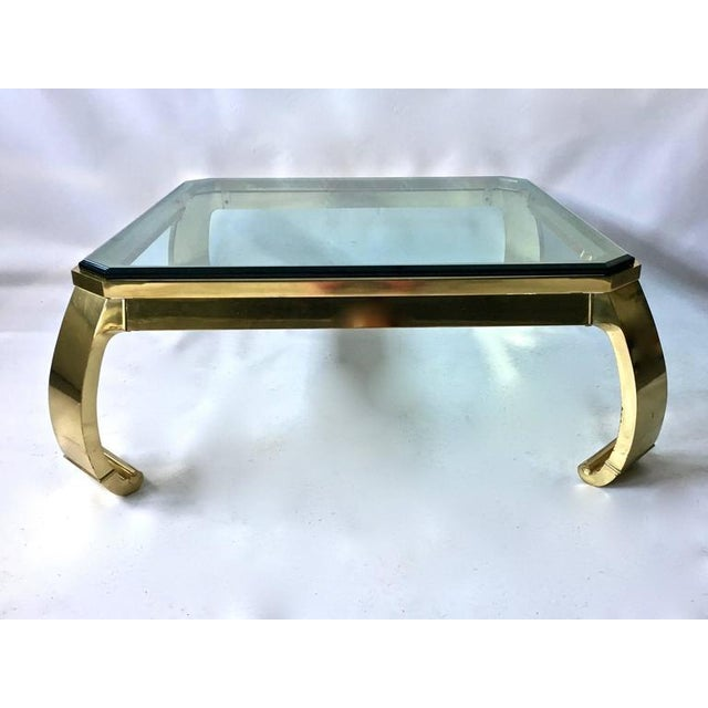 Oriental Glass Top Coffee Table: 1970s Karl Springer Asian Inspired Brass & Glass Coffee
