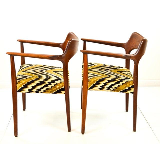 Mid-Century Modern Danish Teak Arm Chairs - A Pair - Image 6 of 10