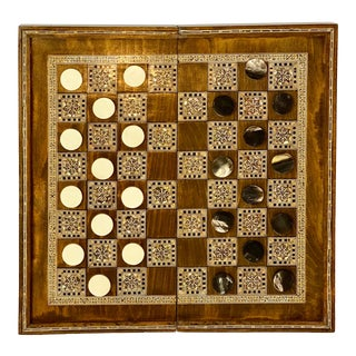1950s Vintage Syrian Large Inlaid Mosaic Backgammon and Checkers Game Box For Sale