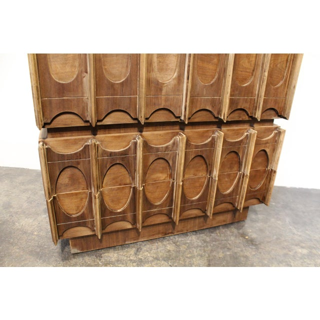 1970s 1970s Brutalist Wardrobe Chest on Chest in Natural Walnut, Brasilia Style For Sale - Image 5 of 12
