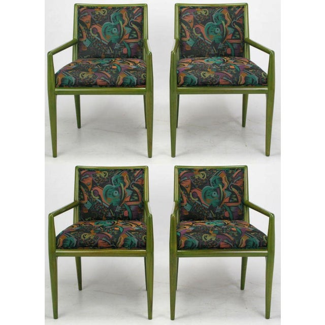Unexpected moss green stained walnut arm chairs, with a colorful deco revival woven upholstery, by T.H. Robsjohn-Gibbings...