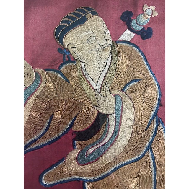 Blue Antique Chinese Embroidered Mythological Wall Hangings, Panels on Silk - a Pair For Sale - Image 8 of 9