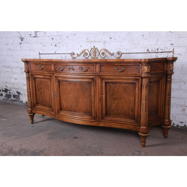 French Karges French Louis XVI Style Walnut and Burl Wood Sideboard / Bar Cabinet For Sale - Image 3 of 13