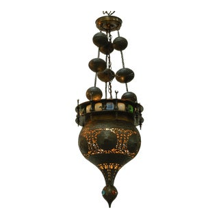 Moorish Brass & Glass Panel Light Fixture Chandelier For Sale