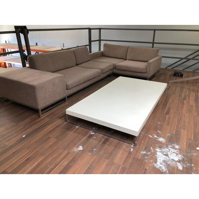 B&B Italia Ligne Roset Styled Sectional Modern Sofa With Chrome Base For Sale - Image 4 of 13