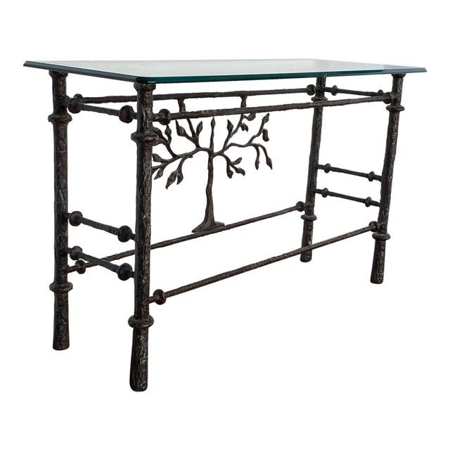 Mid-Century Modern 1970s Giacometti Style Welded Metal & Glass Console Table For Sale - Image 3 of 8