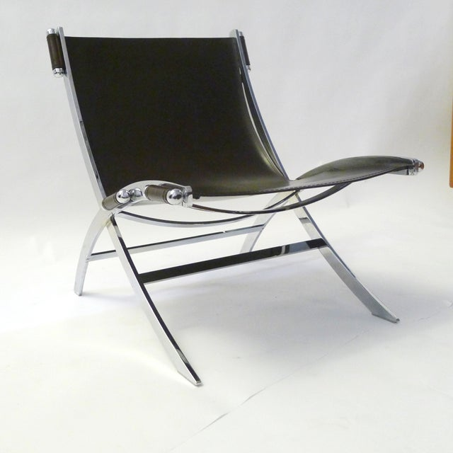 Leather and Chrome Sling Chair Paul Tuttle - Image 6 of 6