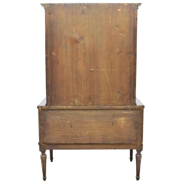 Campaign Antique 19th C. European Glass Display Cabinet / Bookcase With Marquetry For Sale - Image 3 of 12