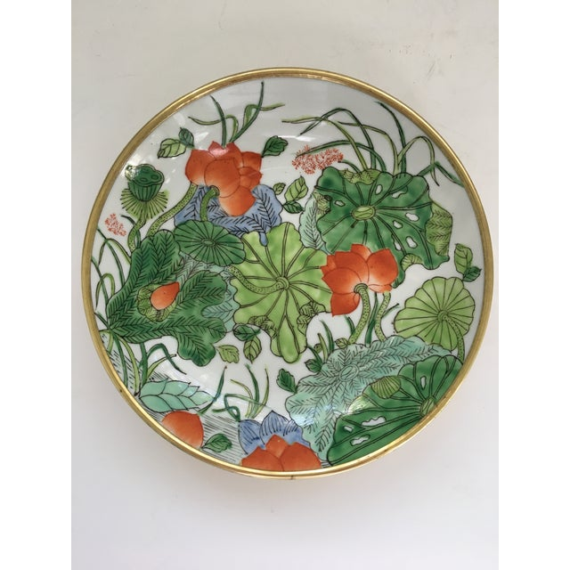 Chinoiserie Floral Hand Painted Porcelain Brass Encased Bowl/Catchall - Made in Japan For Sale - Image 11 of 12
